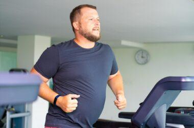 Chubby Man Exercise Treadmill