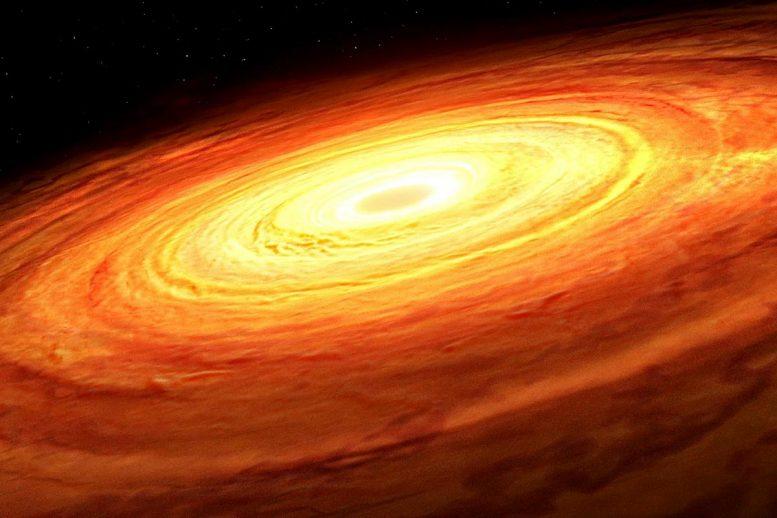 Disque d'accrétion tournant autour d'un trou noir supermassif