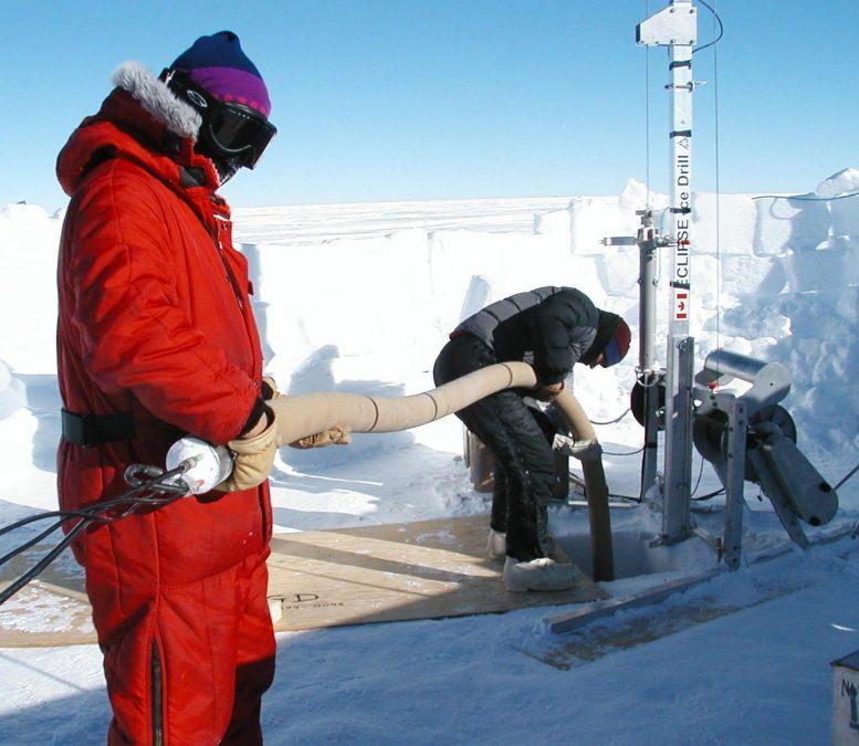 Ligne de vide forage Megadunes Antarctique