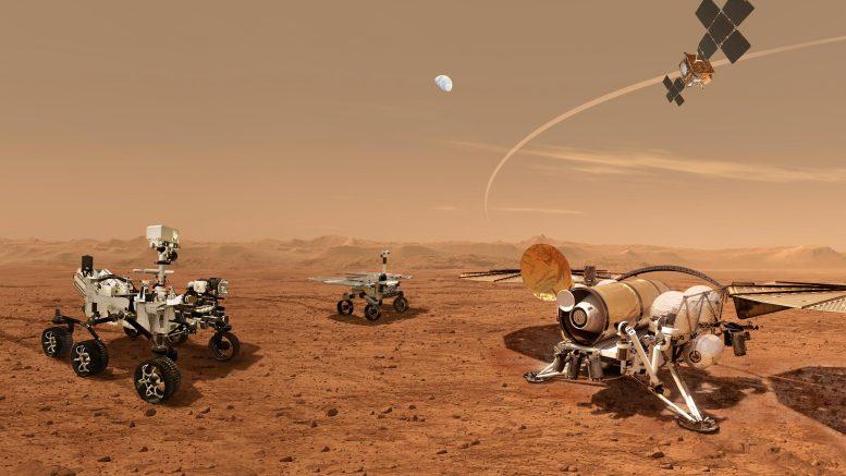 Concept de l'artiste de la campagne de retour d'échantillons de Mars